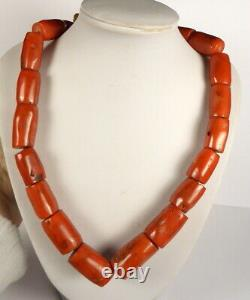 Old Tibetan Real Coral Bead Necklace. 19 Beads