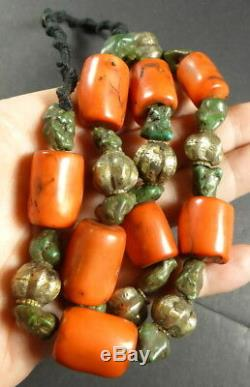 Old Tibetan Turquoise & Coral Bead Necklace