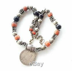 Old yemen Maria Theresa Silver coin necklace and red/black coral Wheel Beads