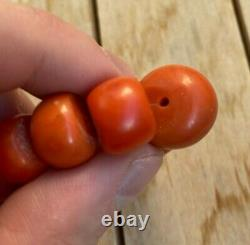 Original Antique Undyed Ukrainian Coral Necklace Beads 116 gr BIG BEAD 18 mm