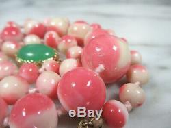 PINK & WHITE MOMO CORAL BEAD APPLE GREEN JADEITE JADE NECKLACE 14K GOLD 54.5g