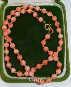 Peach Salmon 5mm Coral Bead strand 14k Gold filled 17 Necklace 9d 7