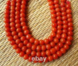 Perle Corail Rouge Bijou Collier Napoléon Antique Red Coral Bead Necklace