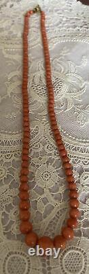 Pretty Antique Genuine Red Coral Graduated Bead Necklace, c 1900