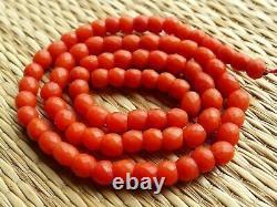 Rang Perle Corail Rouge Ancien Collier Napoléon Antique Red Coral Bead Necklace