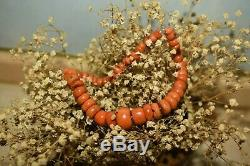 Rare 28,3g Natural Venetian Coral Beads Mediterranean style Necklace Undyed VTG