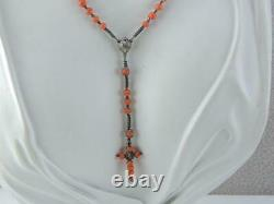 Rare Antique Victorian Sterling Coral Bead Rosary Bead Necklace