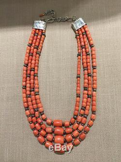 Rare Salmon Coral Large Barrel Beads Graduated 4 Strand Santo Domingo Necklace