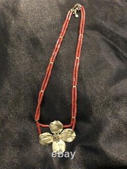 Rare Vinatge Michael Michaud Dogwood Necklace Coral Bead