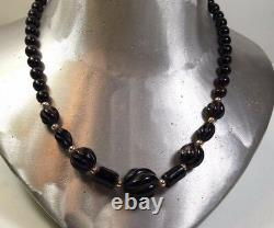 Rare Vintage Hawaiian Carved Black Coral Bead Necklace