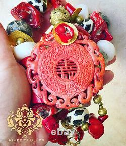 Red Coral African Statement Necklace Carved Jade Zebra African Batik Beads Brass