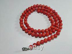 Red Coral Round Beads Mediterranean Natural Carved Necklace+Bracelet 9mm