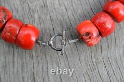 Red Natural Bamboo Coral Handmade Necklace Big Beads Swedish Design 251g