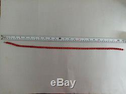 Red Round Beads Coral Necklace Mediterranean Natural 10MM 24 80 Gr