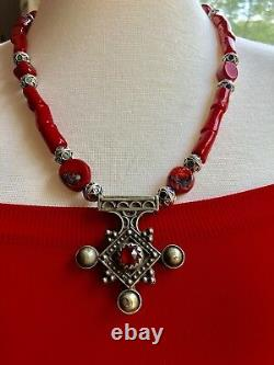 Red coral Boghdad Morrocan southern Berber cross & African Bead Tuareg necklace