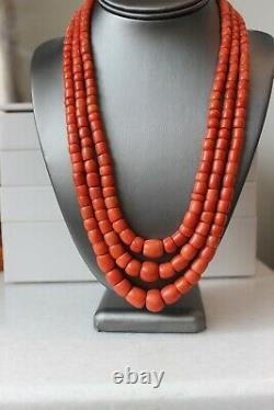 Reserved! 194gr Antique Coral Necklace Natural Undyed Beads