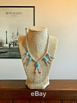Running Bear Sterling Silver Turquoise Coral 5 Pendant Ball Bead Necklace 925 RB