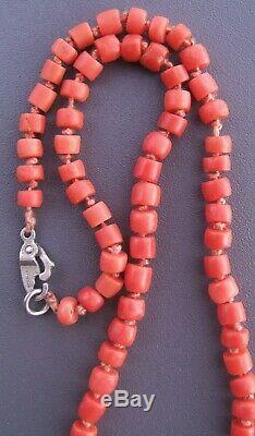 STUNNING ANTIQUE CHUNKY REAL CORAL BARREL BEAD NECKLACE 21g