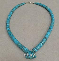 Santo Domingo Blue Kingman Turquoise Heishi Bead Necklace Lupe Lovato