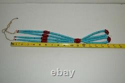Santo Domingo Turquoise and Red Coral Jacla Heishi Beaded Necklace