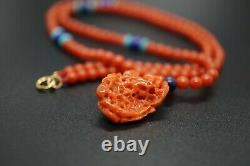 Sardinia Coral Beaded Necklace with Pendant 3.8MM 20'' Gift for Her Red