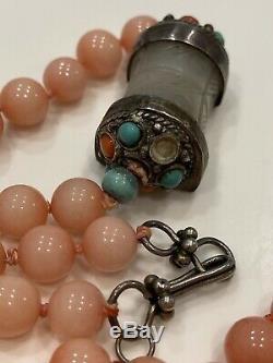 Silver Coral Jade Bead Necklace Antique Vintage Asian