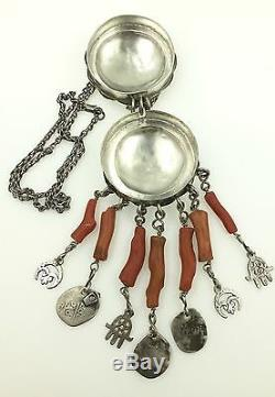 Silver Coral Tunisian Necklace Antique Hamsa Ethnic Tribal Beads Amulet- Opens