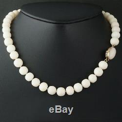 Solid 18K Yellow Gold & Angel Skin Coral Bead 16 Long Estate Necklace