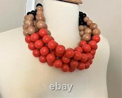 Spectacular Multi Strand Coral & Beige Acrylic Beads Necklace Angela Caputi