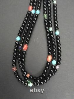 Sterling Silver Black Onyx, Turquoise, Coral Bead Necklace