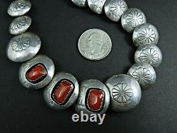 Sterling Silver Flower Patterned Disk with Coral Bead Necklace