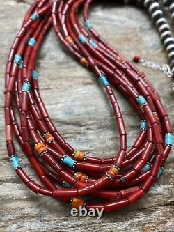 Sterling Silver Multi Strand Multi Stone Red Coral Bead Necklace 24 Inch