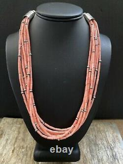 Sterling Silver Pink Bamboo Coral Bead Necklace. 22 Inch