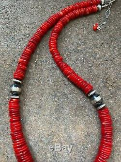 Sterling Silver Red Coral Bead Necklace. 18 inch