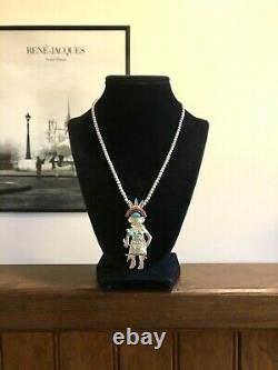 Sterling Silver Turquoise Coral Kachina Pendant 4mm Bead Necklace 925 C Pollack