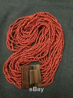 Stunning vtg Red coral glass seed Beads 16 strand necklace/ Wood buckle/20in