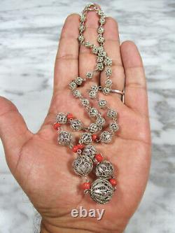 Superb Antique Victorian European Silver Filigree Italian Coral Beaded Necklace