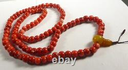 TIBETAN REAL CORAL BEAD MALA NECKLACE. PRAYER BEADS FROM NEPAL 12 mm CORAL BEADS