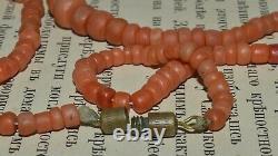 TIbetan Antique 19th Natural BEAD CORAL Undyed salmon Mediterranean Necklace vtg