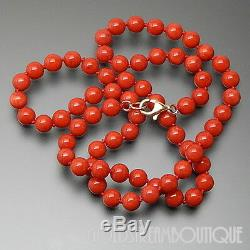 TORRE DEL GRECO RED GENUINE CORAL 6 mm BEADED NECKLACE WITH 18KT GOLD CLASP 19