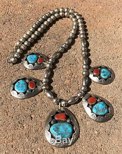 Teddy Goodluck Navajo Sterling Silver Shadowbox Turquoise & Coral Bead Necklace
