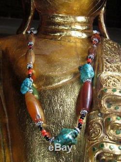 Tibetan Mixed Bead Necklace Turquoise Carnelian Coral