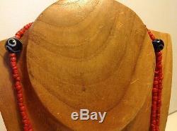 Tibetan bead antique milky black Chinese coral dzi Agate Mala prayer necklace