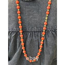 Tiffany & Co. Italian Natural Coral Gold Bead Vintage 36 Inch Necklace
