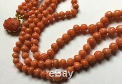 Triple 3 Row Natural Salmon Red Coral Beads Gold Cameo Clasp Necklace 42.2g