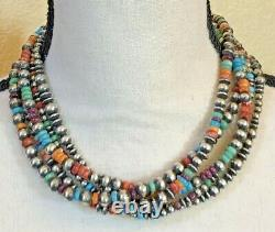Turquoise Coral Sterling Silver 5 Strand Beaded Necklace 17.5 110 grams Unique