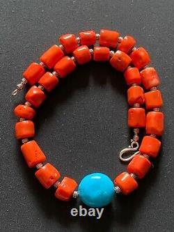 Turquoise & Orange Bamboo Coral chunky beaded bohemian handmade necklace