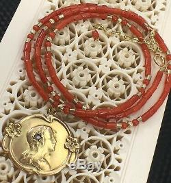 Undyed Mediterranean Red Coral 14kt Bead Necklace for Antique Pendants, 17-18.5