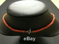 Untreated Red Coral & 22ct Indian Gold Beaded Necklace