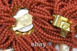 VALENTINO Garavani Couture 1980s Faux Coral Pearl Beaded Necklace